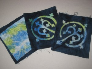 Stitched Kunin felt on the cotton fabric, middle one is cut with soldering iron and the last piece is also distressed with heat gun