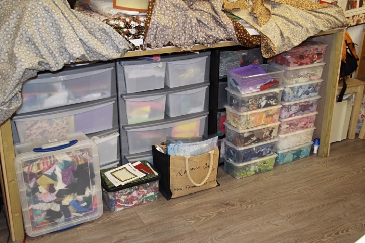 Sewing storage table
